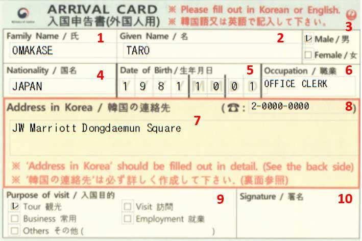 韓国出入国書類