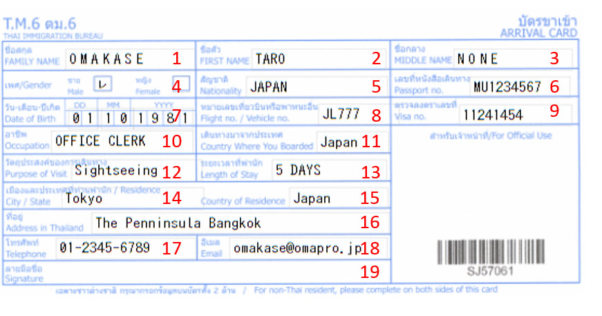 タイ出入国書類